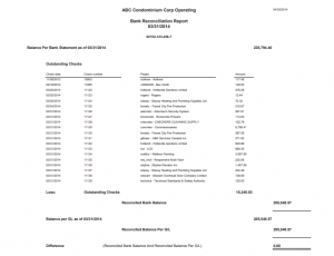 Condo Bank Reconciliation Report