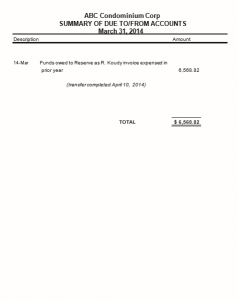 Condo Due To/From Reserve Operating Accounts Statement
